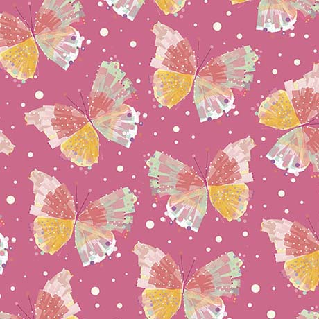 Confetti Blossoms Butterfly Pink bkg