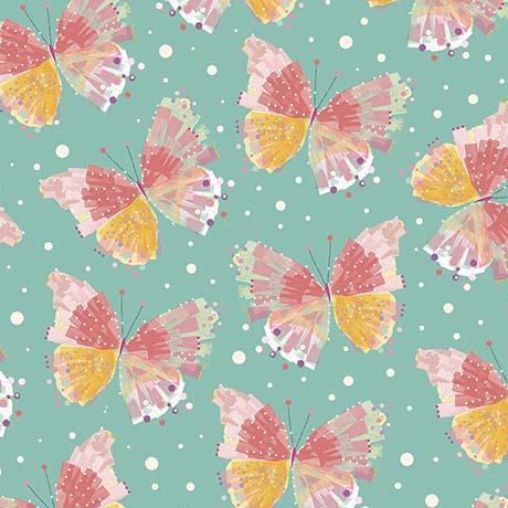 Confetti Blossoms Butterfly Seafoam bkg