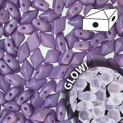 Diamonduo 2 hole Lavender Glow in the Dark