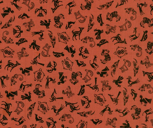 Desert Dwellers SW Animal Motifs Rust