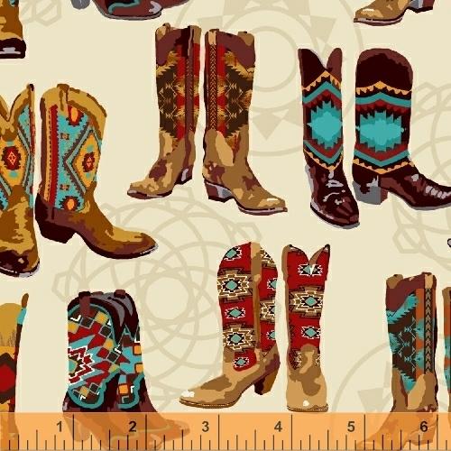 Mesa Cowboy Boots Cream Bkg