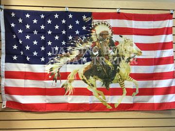 Native Flag-Warrior on Running Horse