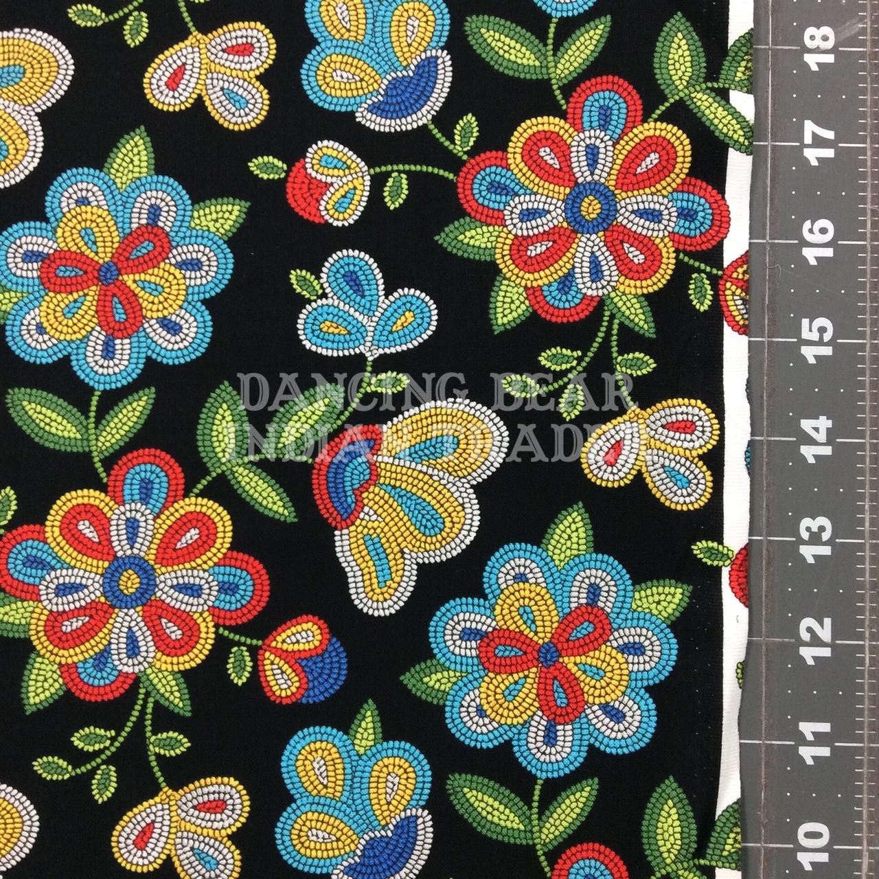 Native Pattern Beaded Flowers Black