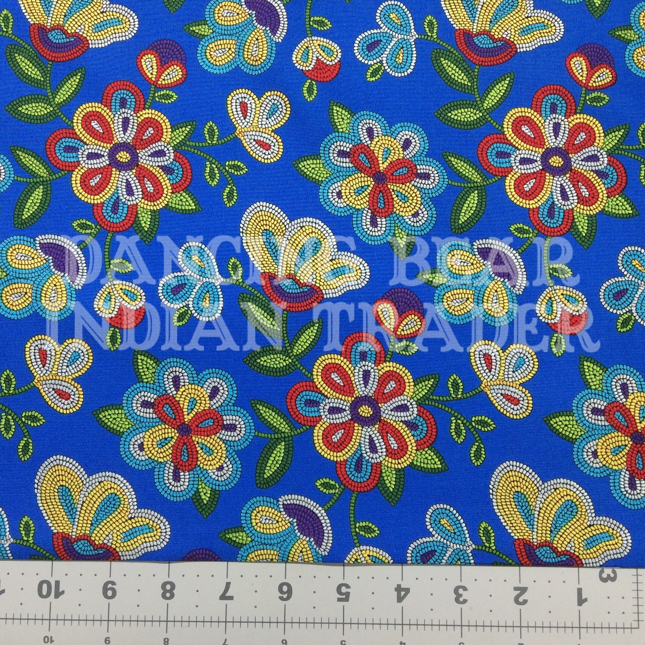 Native Pattern Beaded Flowers Royal Blue