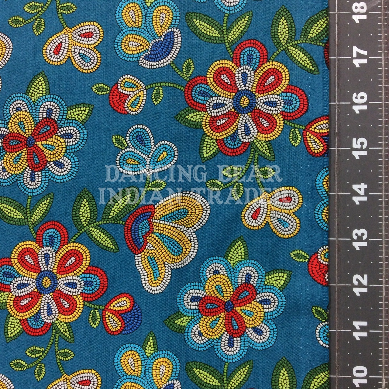 Native Pattern Beaded Flowers Turq