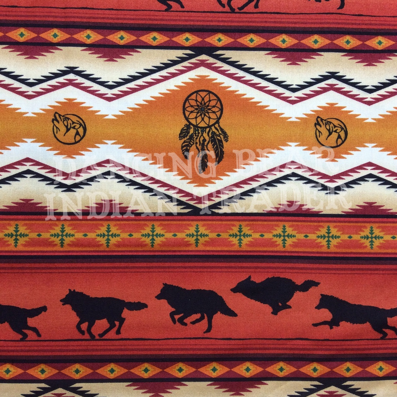 Native Pattern Wolves Stripe Terracotta