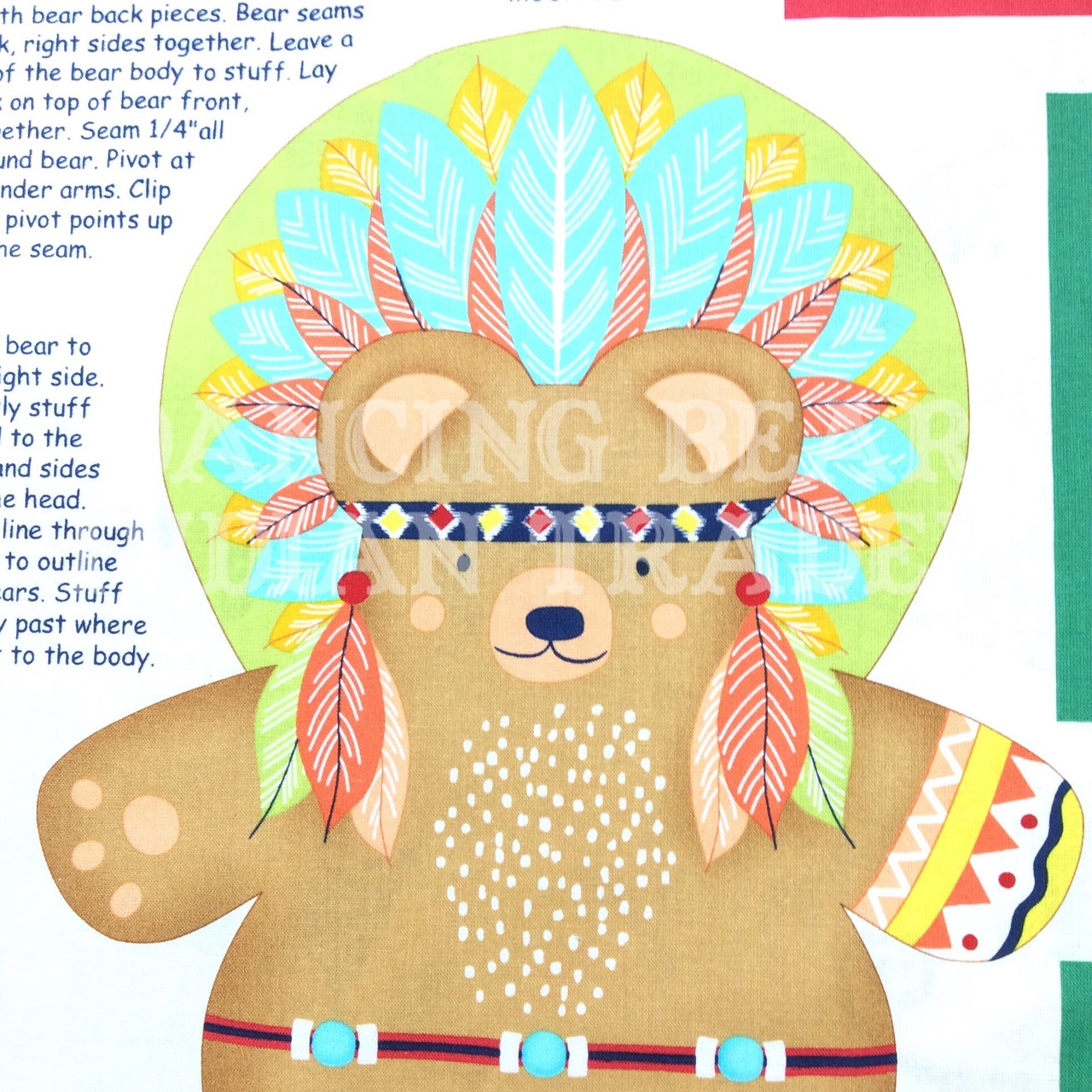 Powwow Bear & Tipi Pillow panel 35x 44