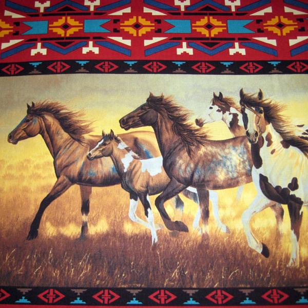 Running Horse Red Stripe 1 Panel