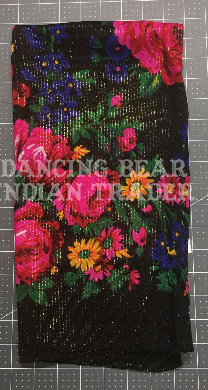 Scarf Metallic Floral Black 001