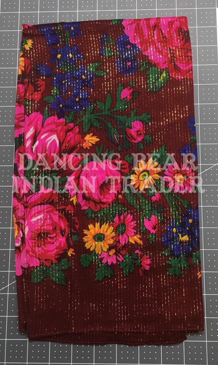 Scarf Metallic Floral Maroon 098
