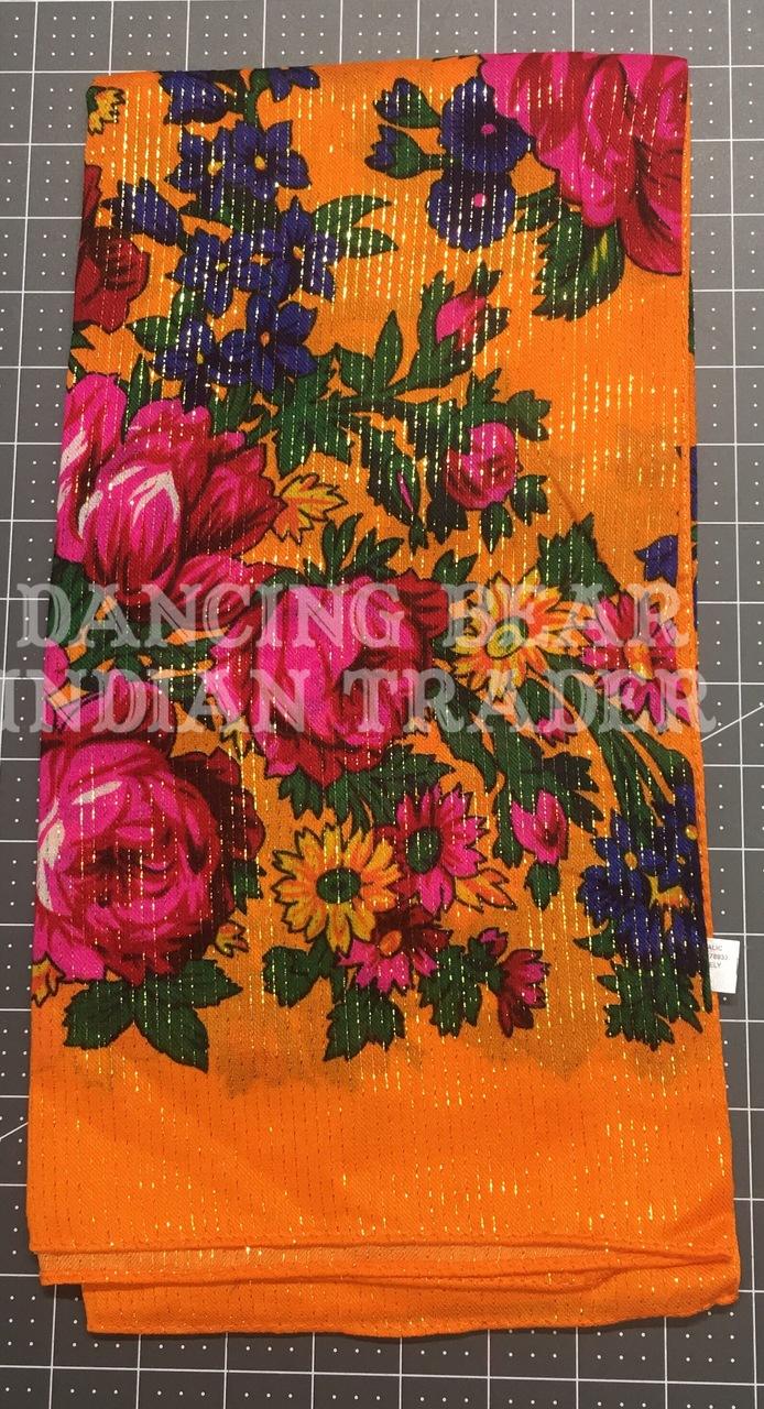 Scarf Metallic Floral Orange 116
