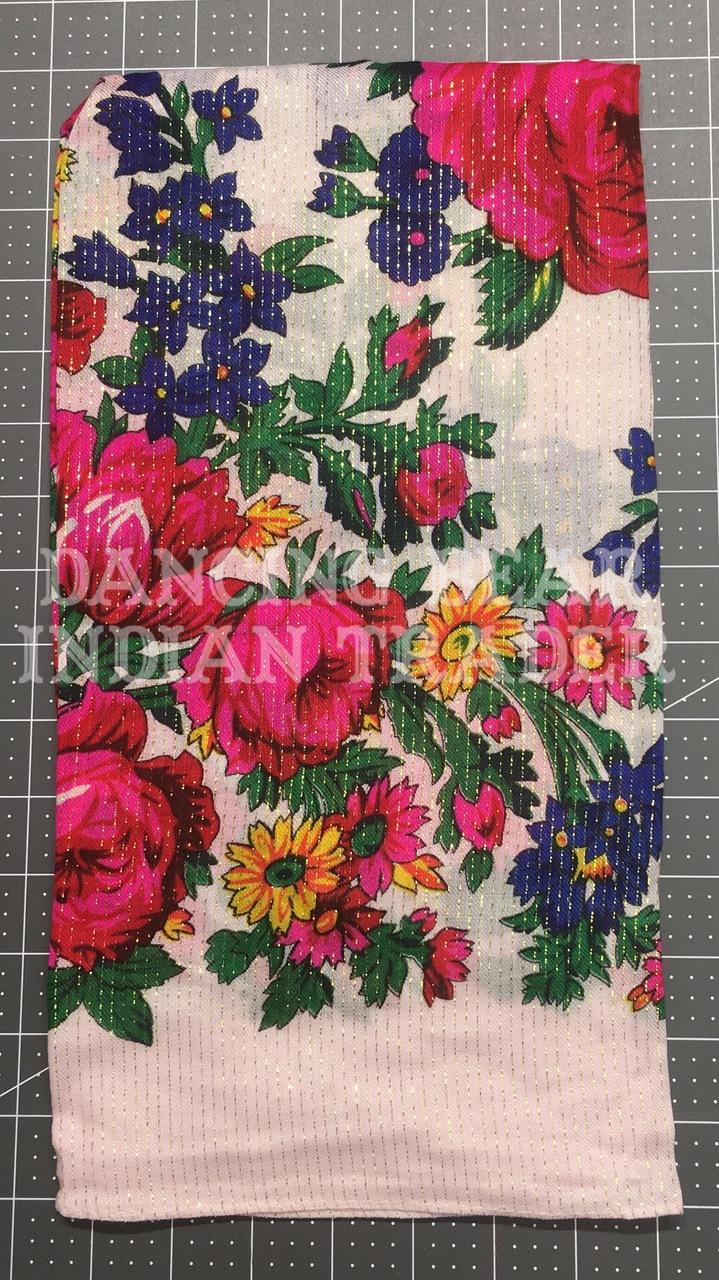 Scarf Metallic Floral White 026