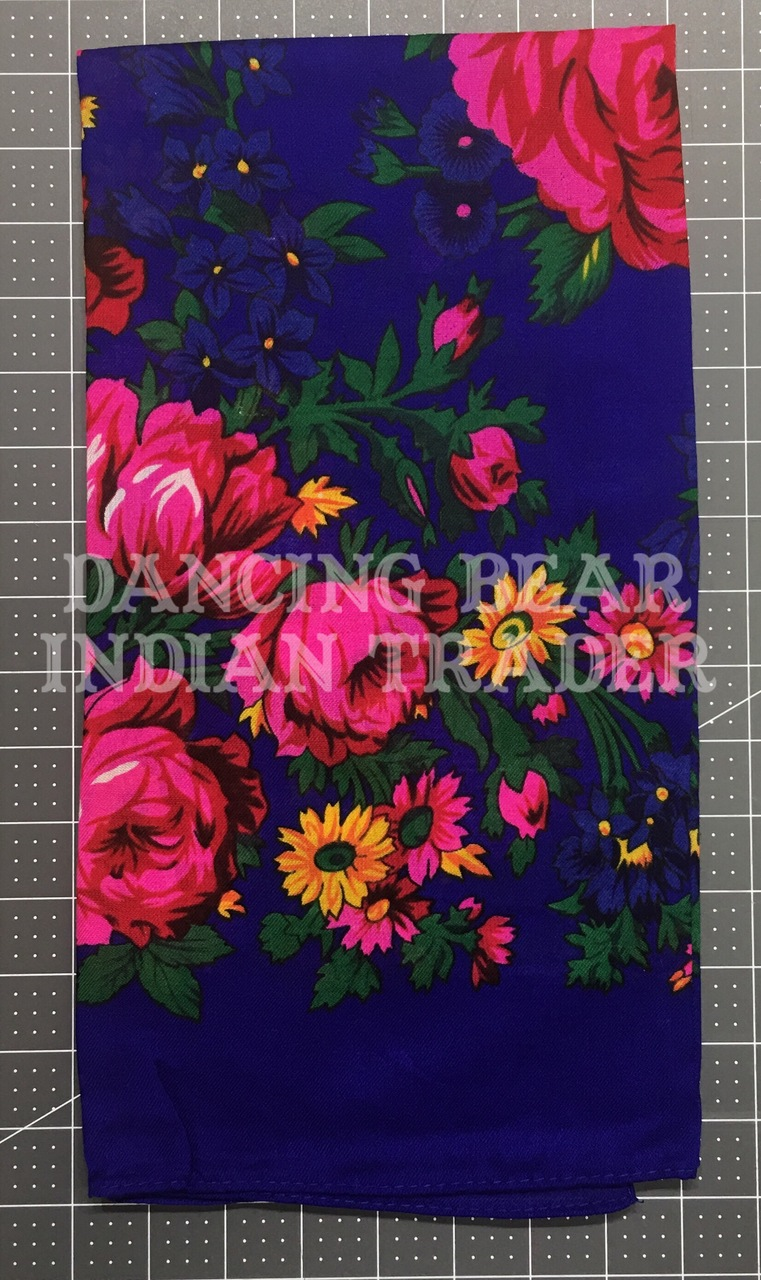 Scarf Plain Floral Royal Blue 260
