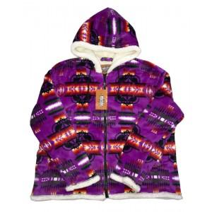 Sherpa Plush Fleece Jacket Purple