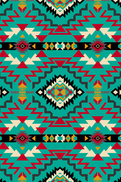 Southwest Geometric Turq Fleece