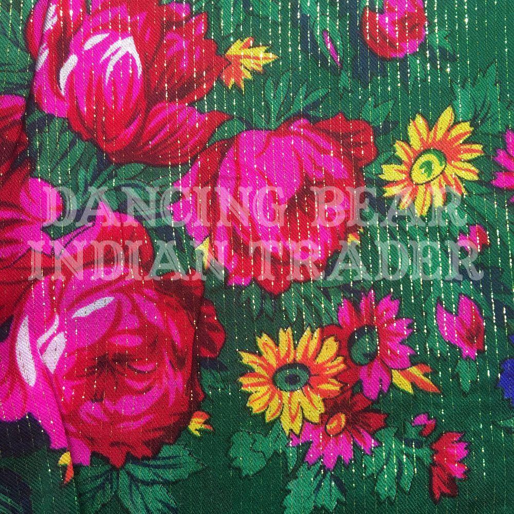 Scarf Metallic Floral Green 218