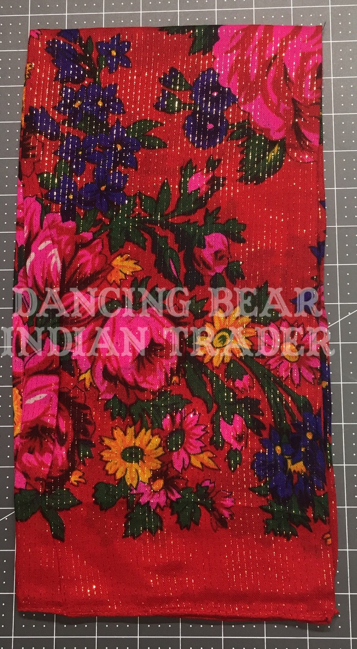 Scarf Metallic Floral Red 081