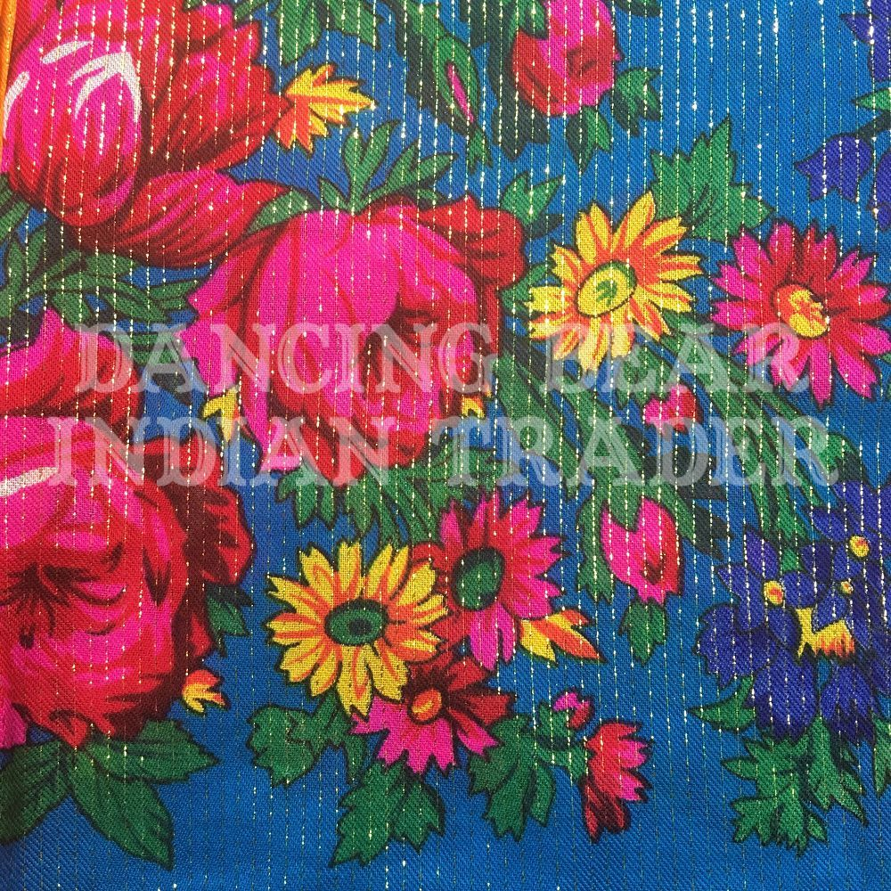 Scarf Metallic Floral Turquoise 238