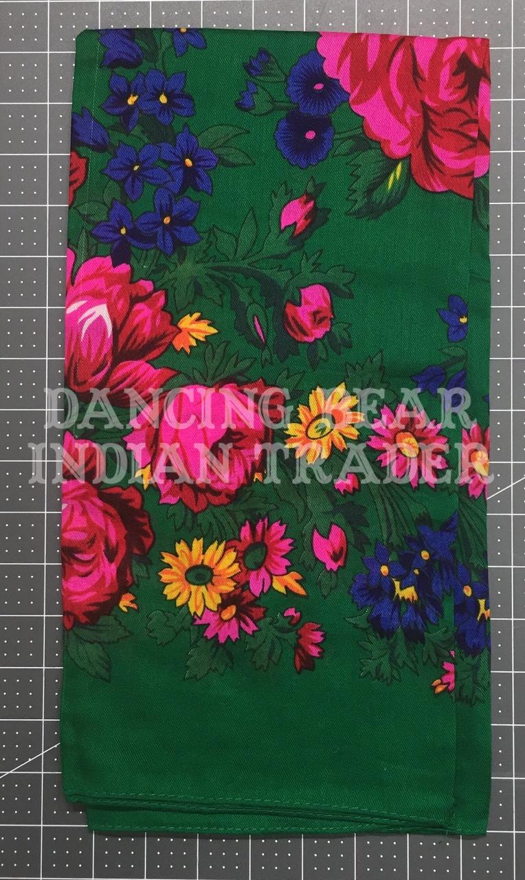 Scarf Plain Floral Green 218
