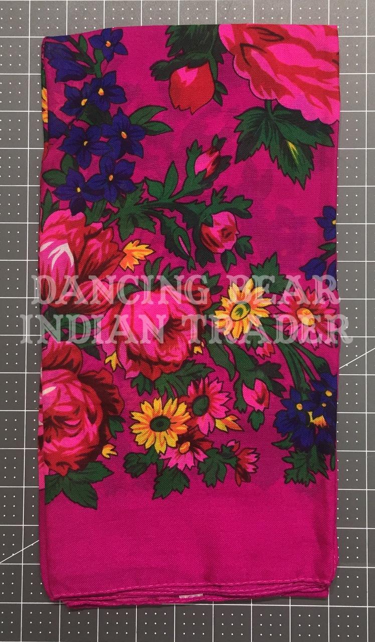 Scarf Plain Floral Magenta 280