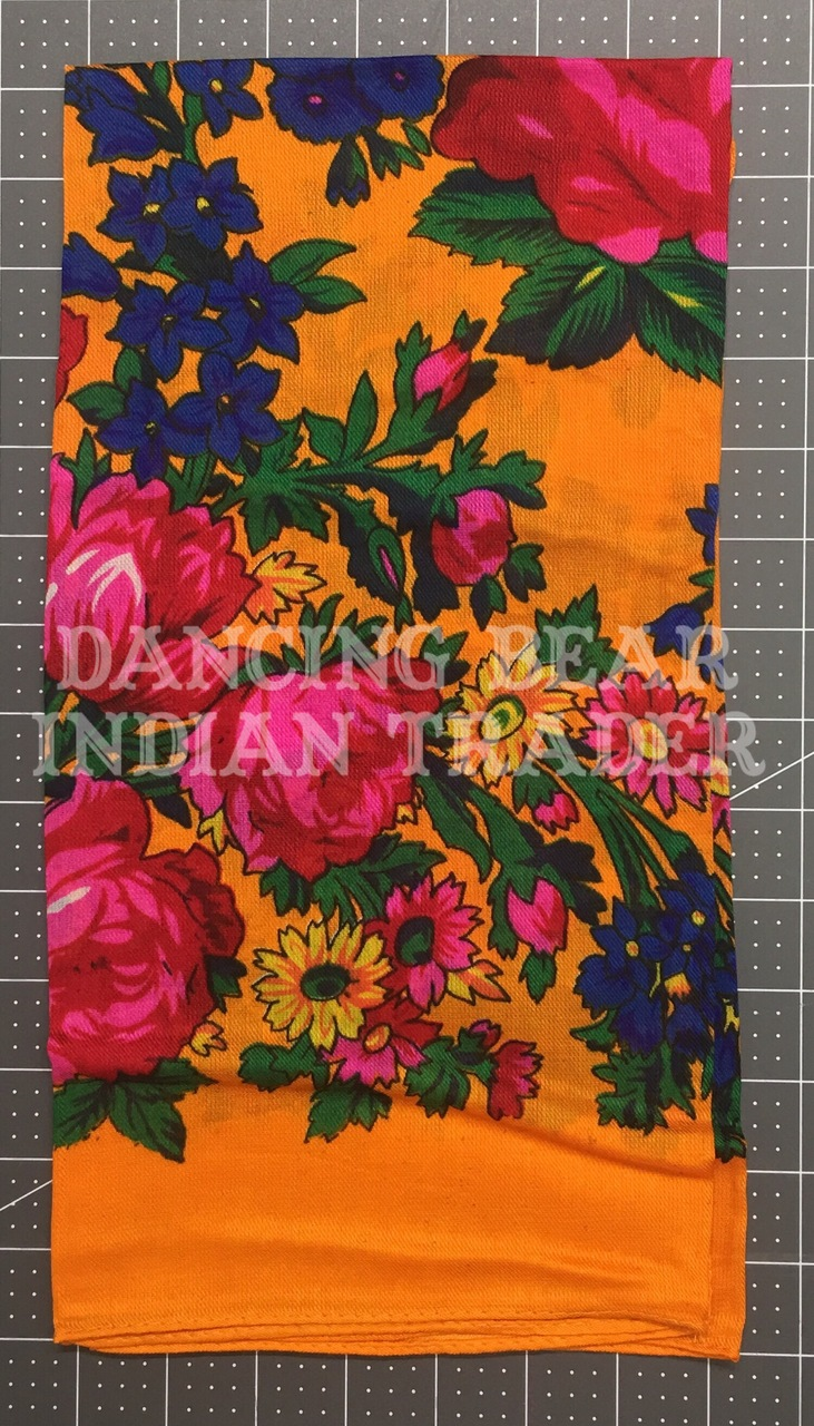 Scarf Plain Floral Orange 116