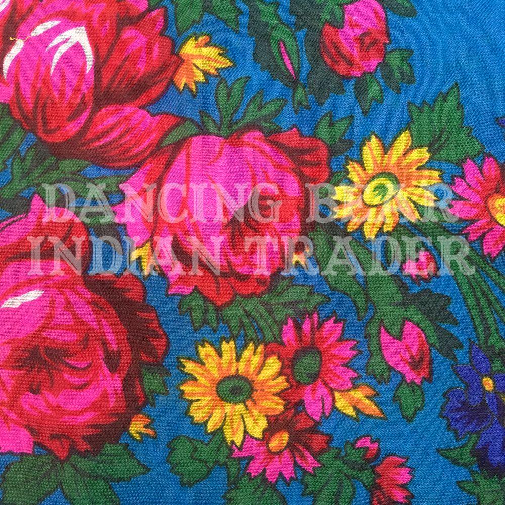 Scarf Plain Floral Turquoise 238