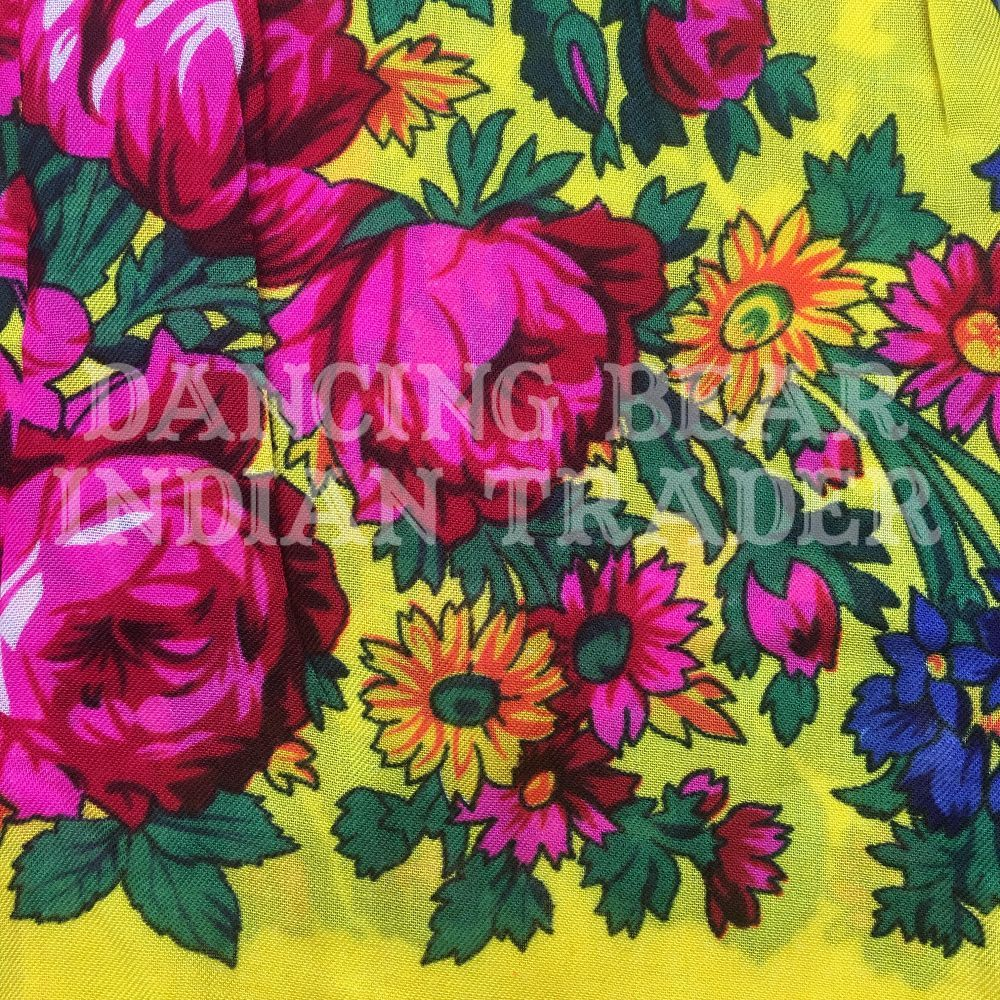 Scarf Plain Floral Yellow 146
