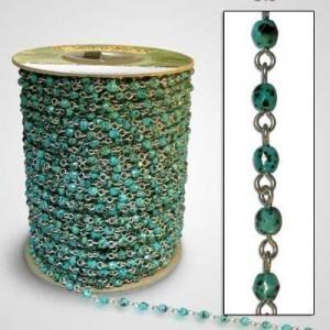 Bead chain Turquoise Glass 4mm Firepolish