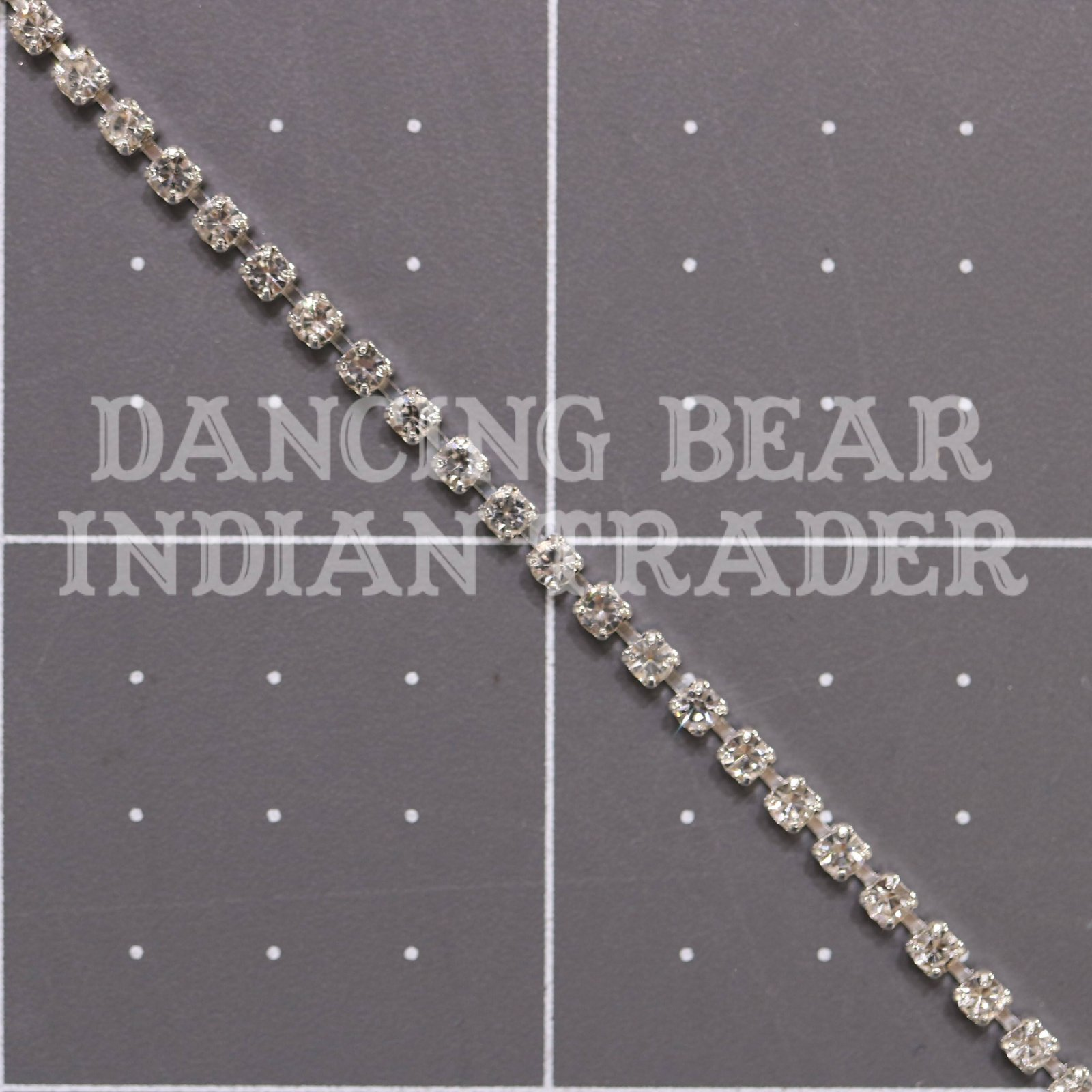 2mm Crystal Silver Cup Chain per foot