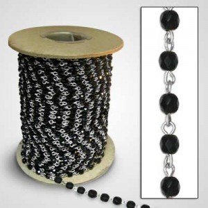 Bead chain Black Glass 6mm Firepolish