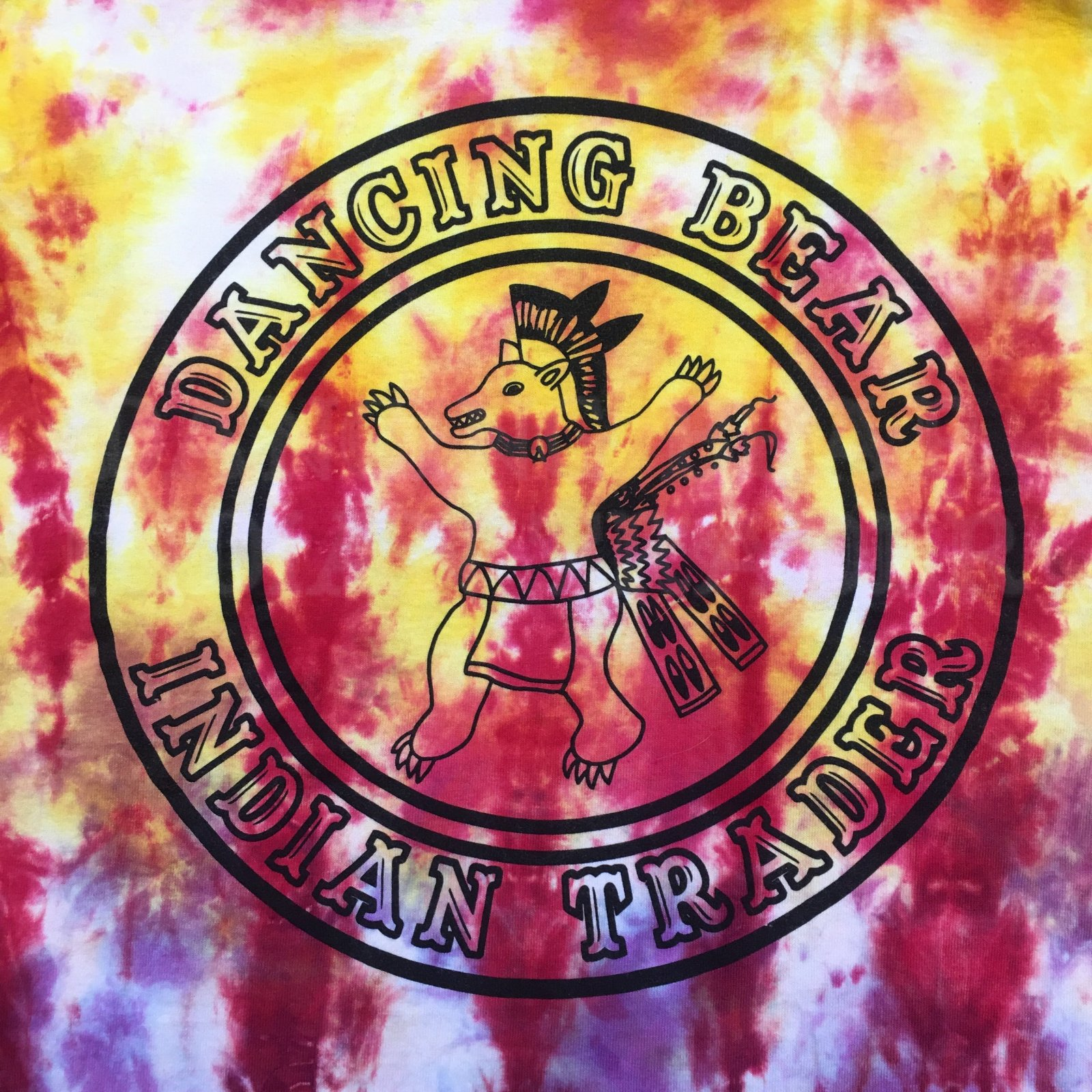 Dancing Bear Indian Trader T-Shirt Tie Dye Fire Color Ombre