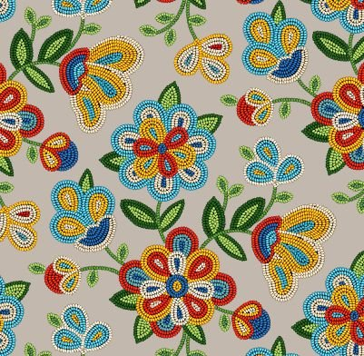 Native Pattern Beaded Flowers Sepia - Back in Stock October 2020