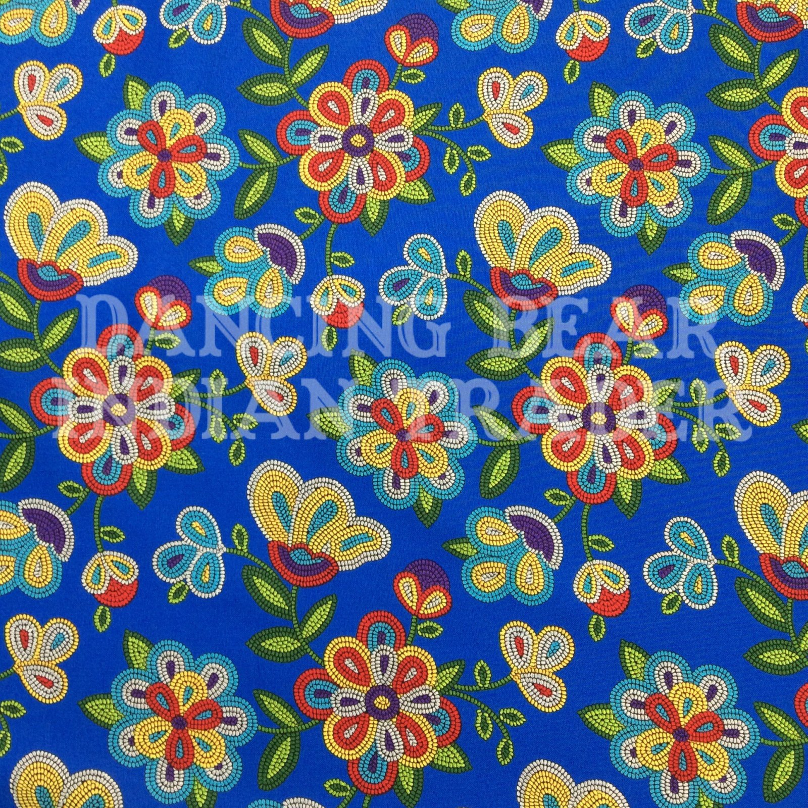 Native Pattern Beaded Flowers Royal Blue -Back in Stock October 2020