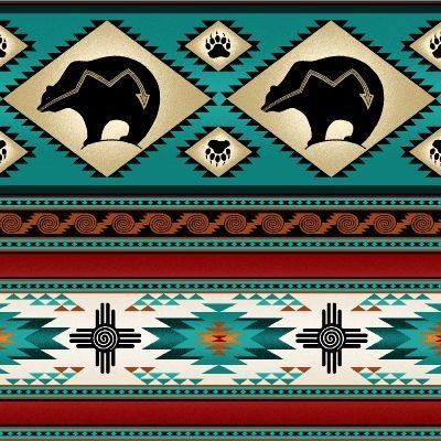 Native Pattern Dancing Bear Stripe Turquoise - Back in stock September 2020