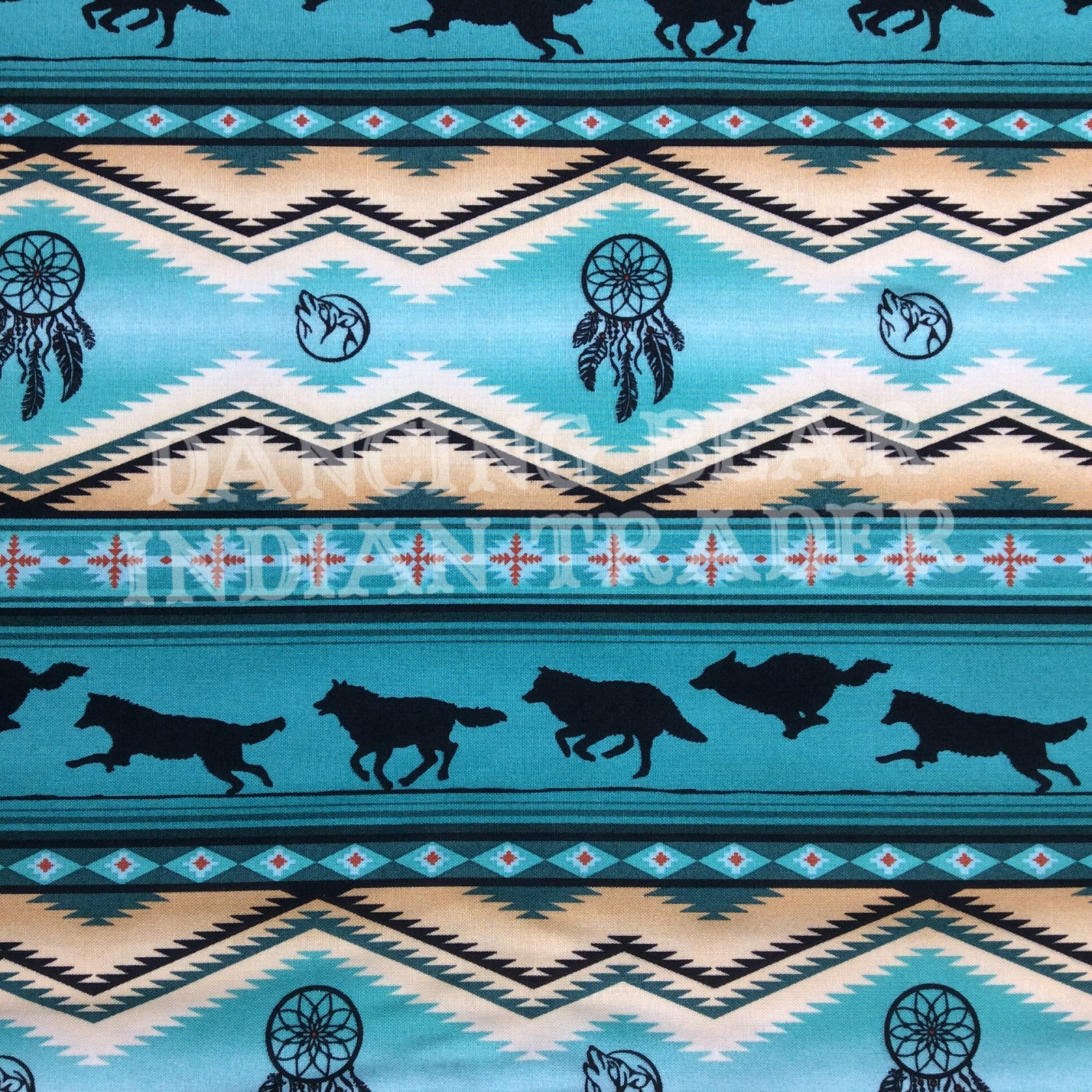 Native Pattern Wolves Stripe Turquoise
