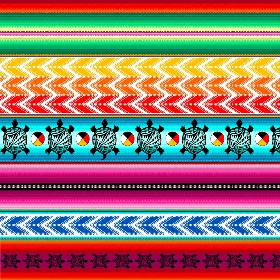 Native Pattern Turtle Serape Bright