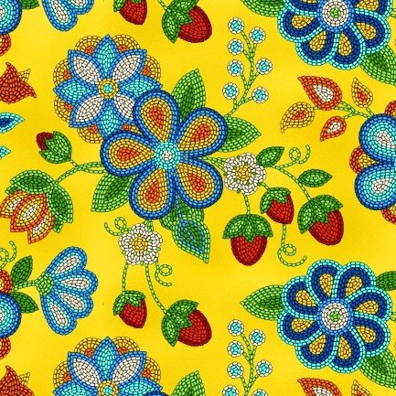 Native Pattern Beaded Strawberry Flowers, Yellow -Back in stock October 15th