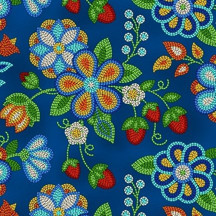 Native Pattern Beaded Strawberry Flowers, Royal Blue -Back in stock August 2020