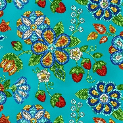 Native Pattern Beaded Strawberry Flowers, Turquoise -Back in stock August 2020