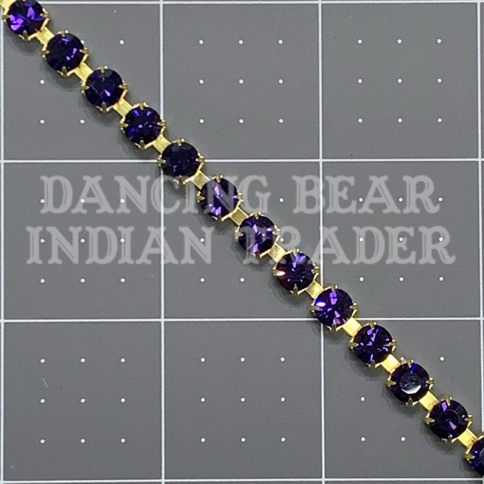 SS29 Purple Velvet Crystal Cup Chain Raw Brass per foot