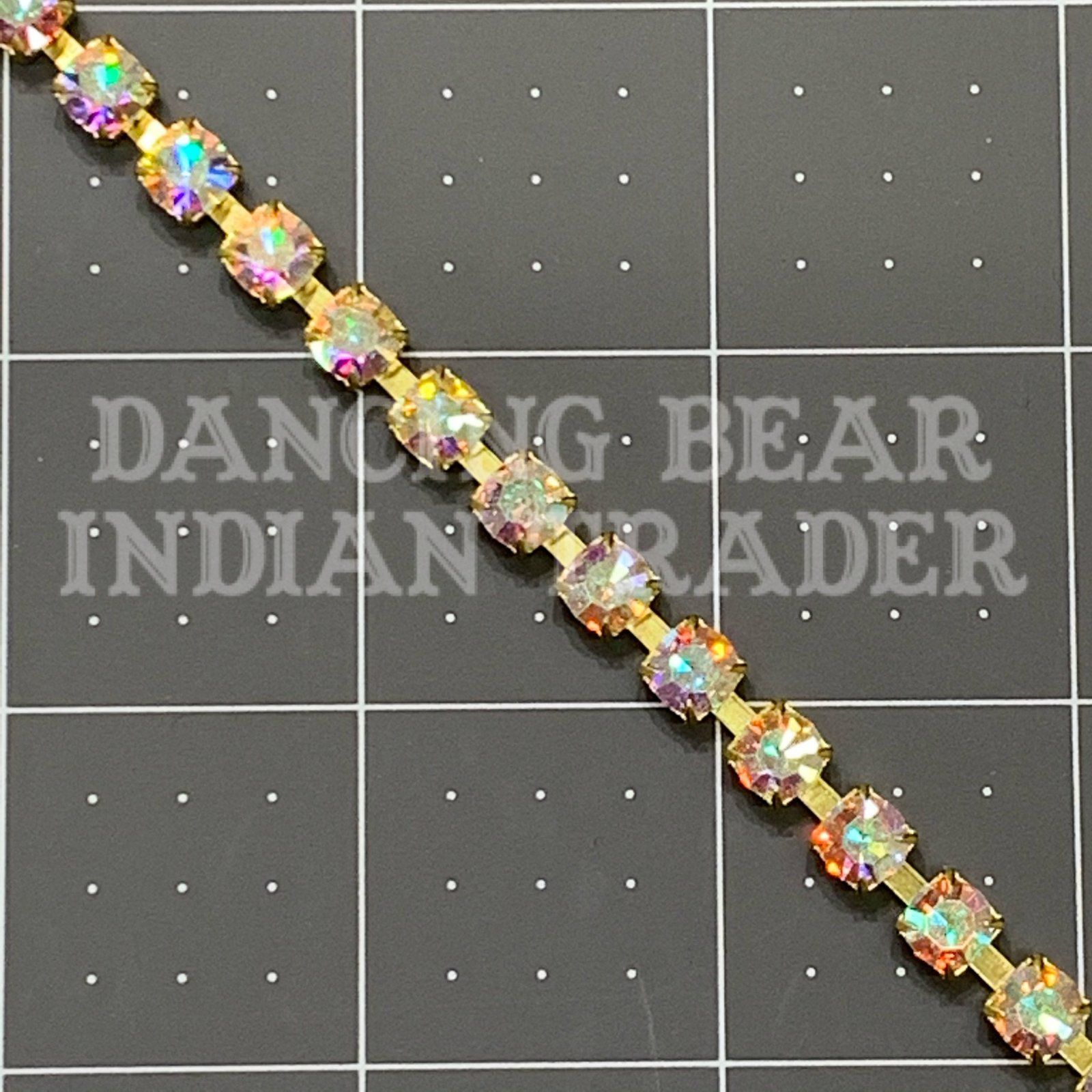 SS29 Crystal AB Cup Chain Raw Brass per inch