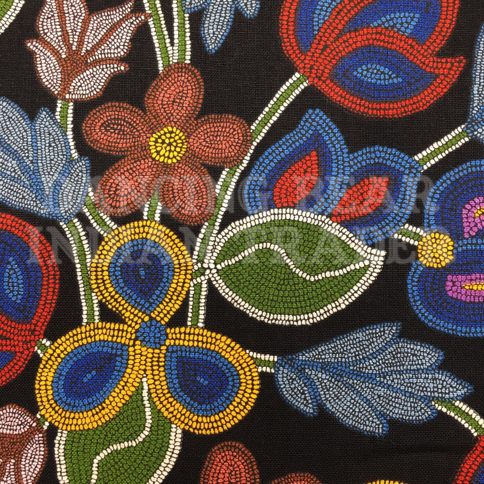 Native Beaded Flowers Black