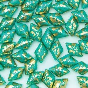 Gemduo 8x5mm Gold Splash Turq Green 10gr