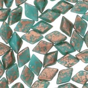 Gemduo 8x5mm Turq Gr. Copper Splash 10gr