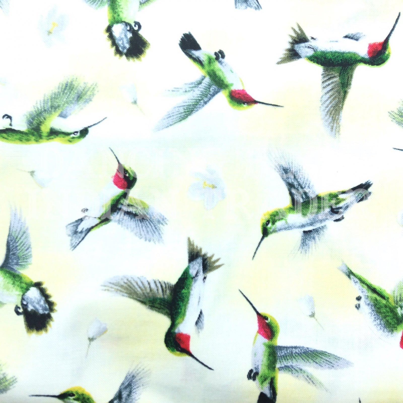 Hummingbirds in Flight Pale Yellow