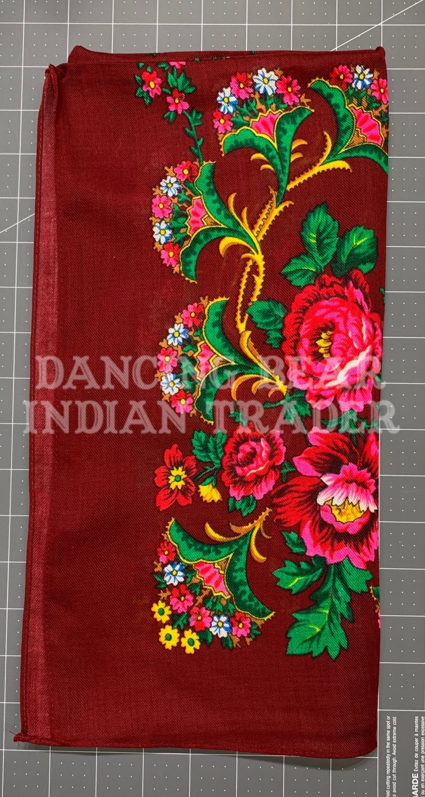 Scarf Floral Bouquet 30 x 30 Maroon
