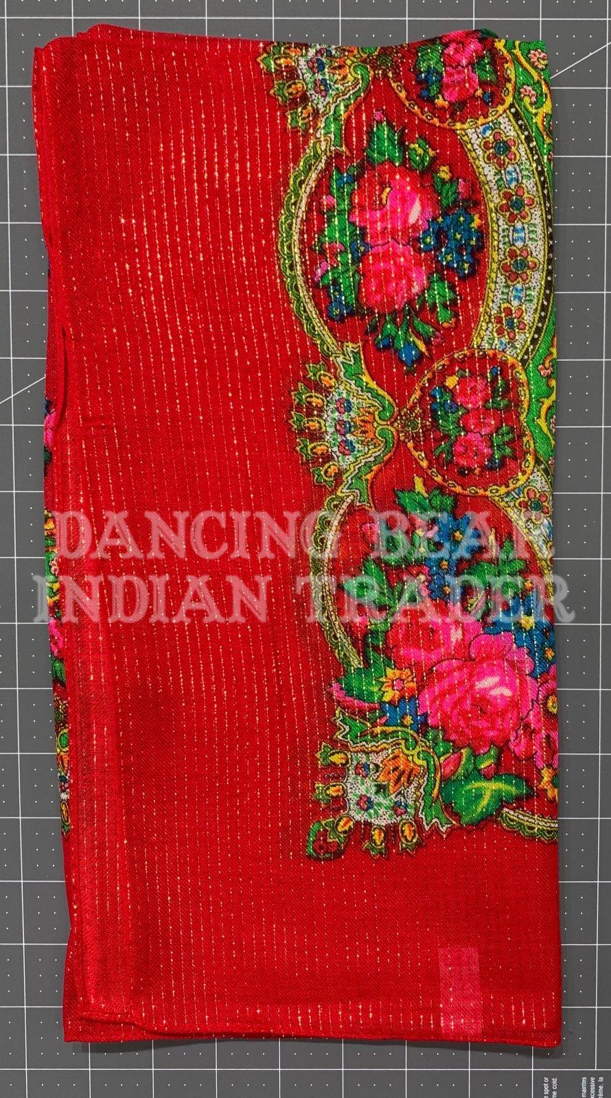 Scarf Floral Crown Metallic 30 x 30 Red