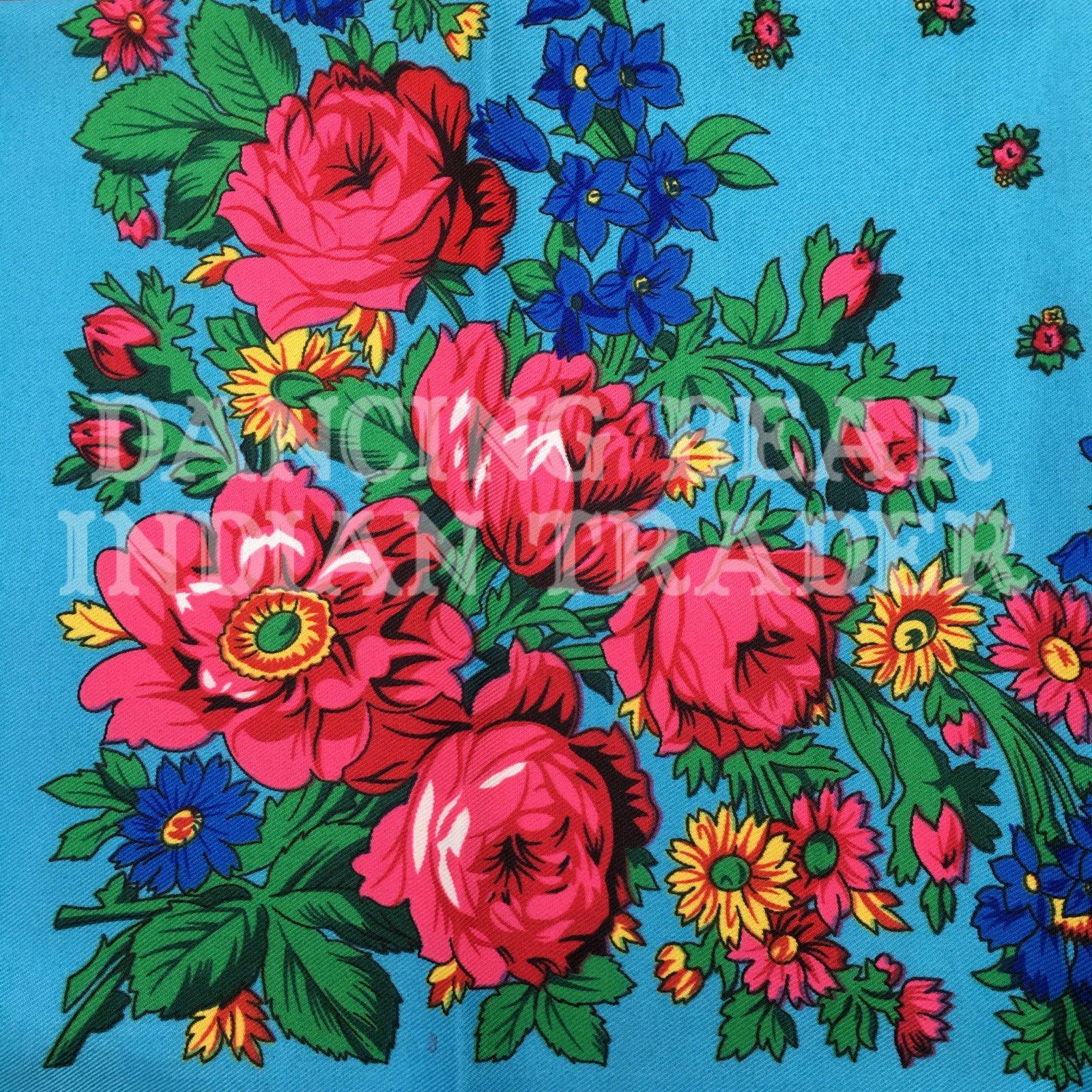 Scarf Plain Floral Sky Blue