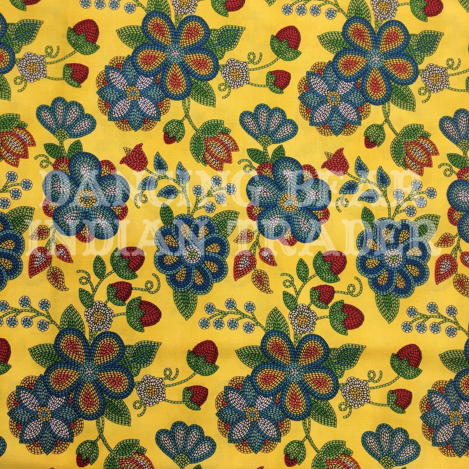 Native Pattern Beaded Strawberry Flowers Yellow