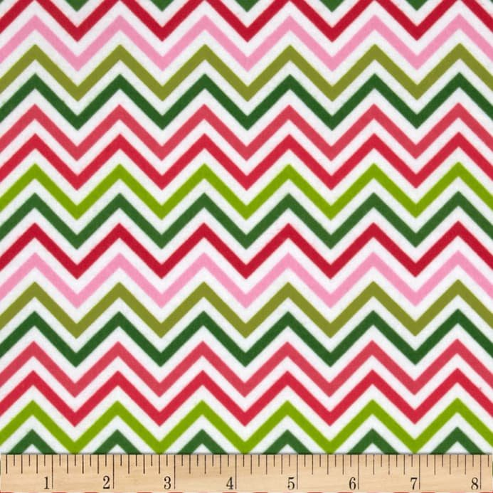Chevron Pink and Green Flannel
